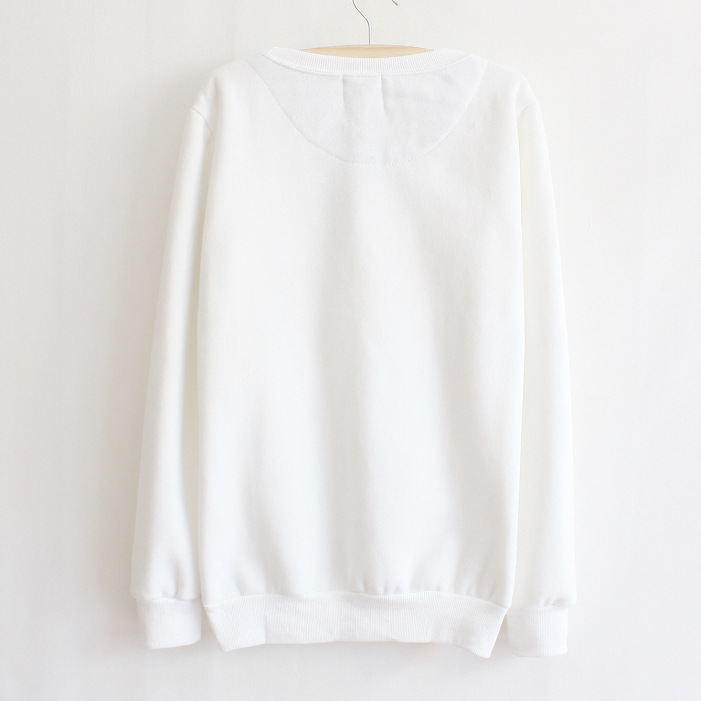 White Thickened Cashmere Fashion Doll Head Sweater on Luulla