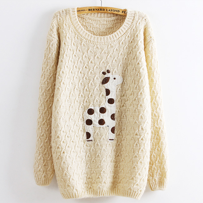Beige Super Adorable Cartoon Giraffe Loose Pullover Sweater on Luulla