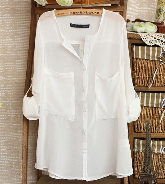 White Simple Wild Spinning Long Sleeve V-neck Chiffon Shirt on Luulla